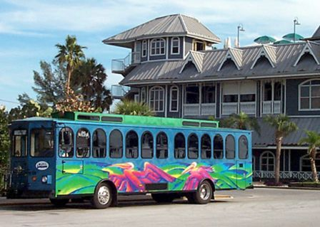 Suncoast Beach Trolley in front of the Hurricane Restaurant. Circa 2001.