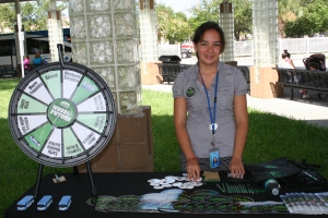 Intern Juliana with the Wheel of the Future game [Photo: Byron Boykins]